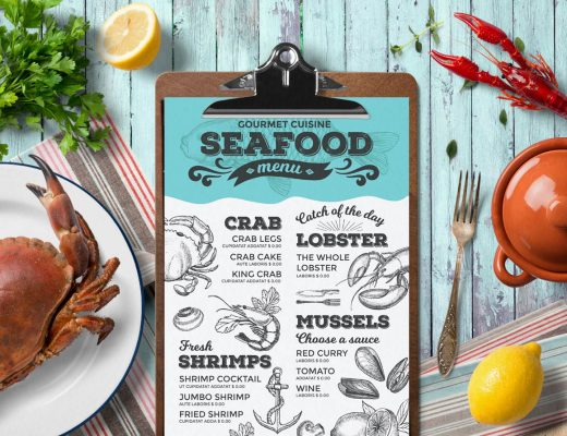 seafood menu template design for restaurant with hand drawn illustrations