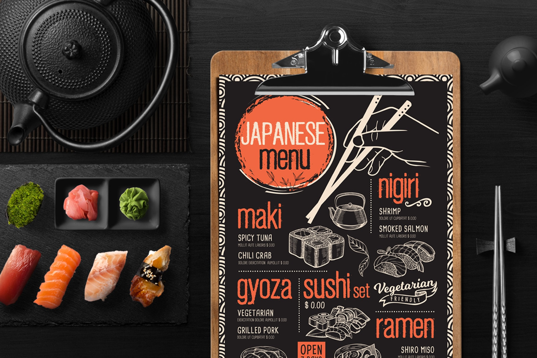 sushi menu template design for restaurant with hand drawn illustrations