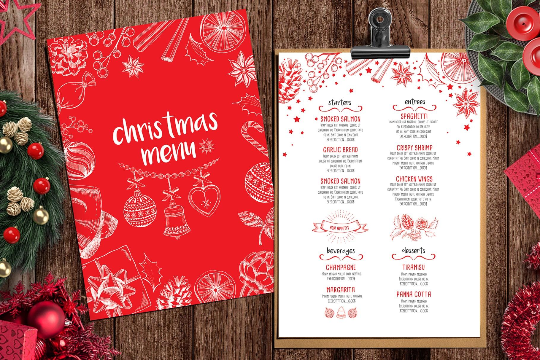 christmas food menu party template for restaurant design chalkboard festive dinner
