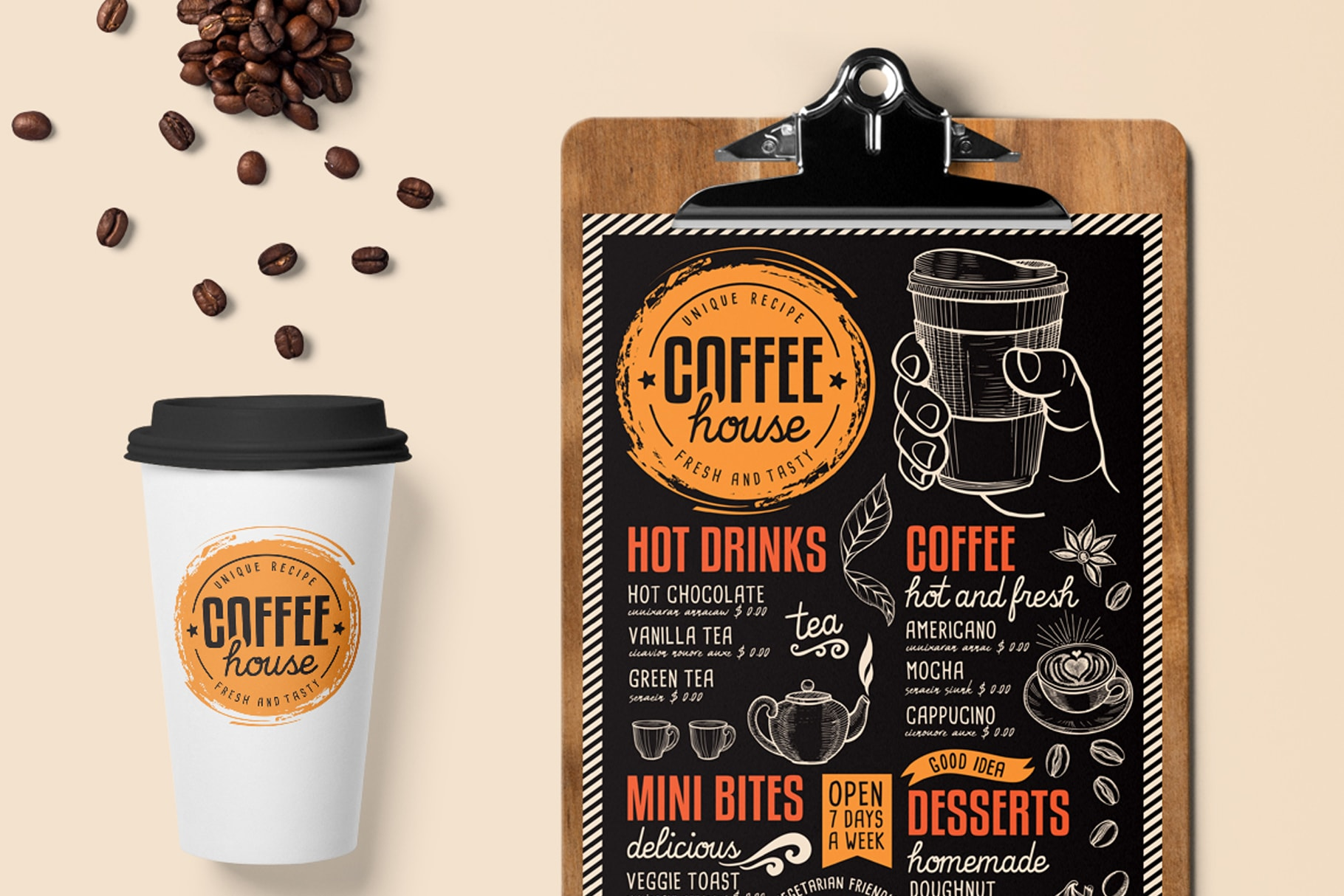 coffee menu template design for restaurant with hand drawn illustrations