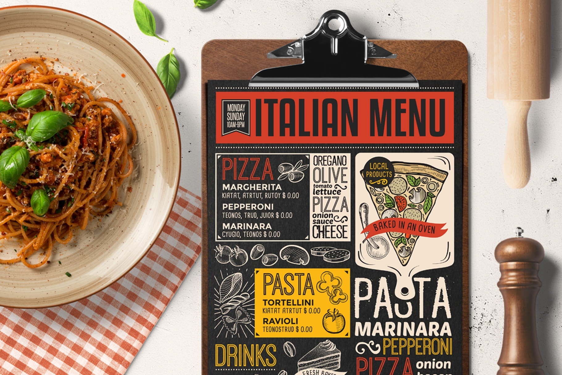 pizza pasta menu template design for restaurant with hand drawn illustrations