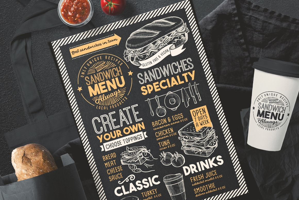 sandwich menu templates design for restaurant with hand drawn illustrations