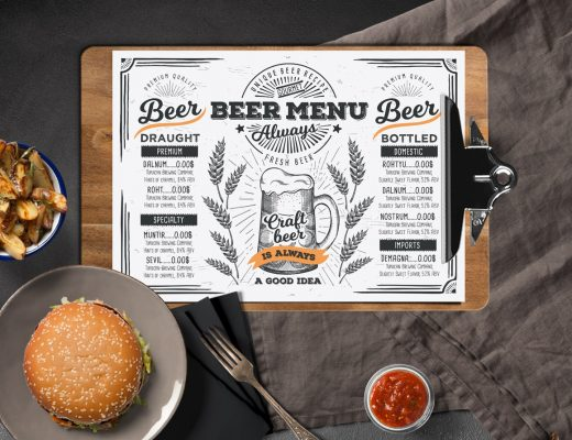 beer menu template for restaurant with hand drawn illustrations