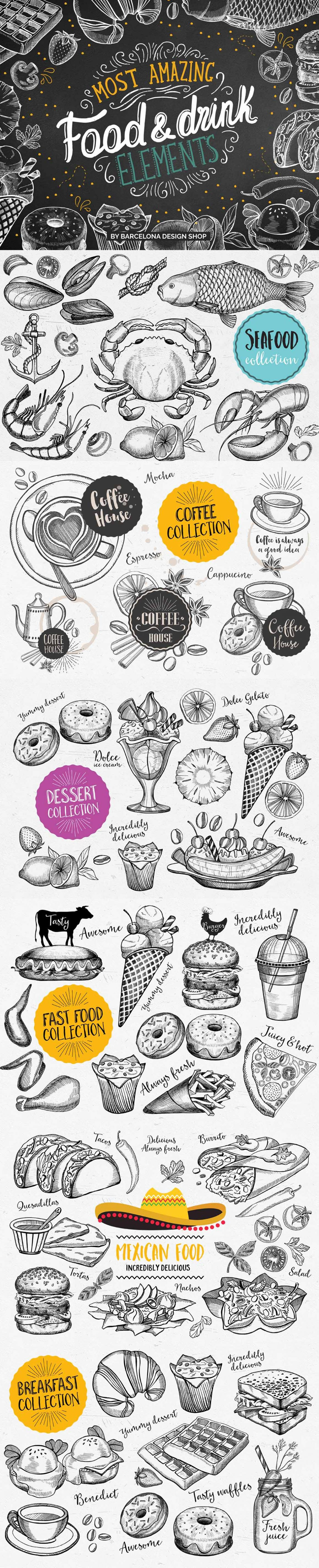 food hand drawn illustrations vegetables fruits fastfood dessert seafood