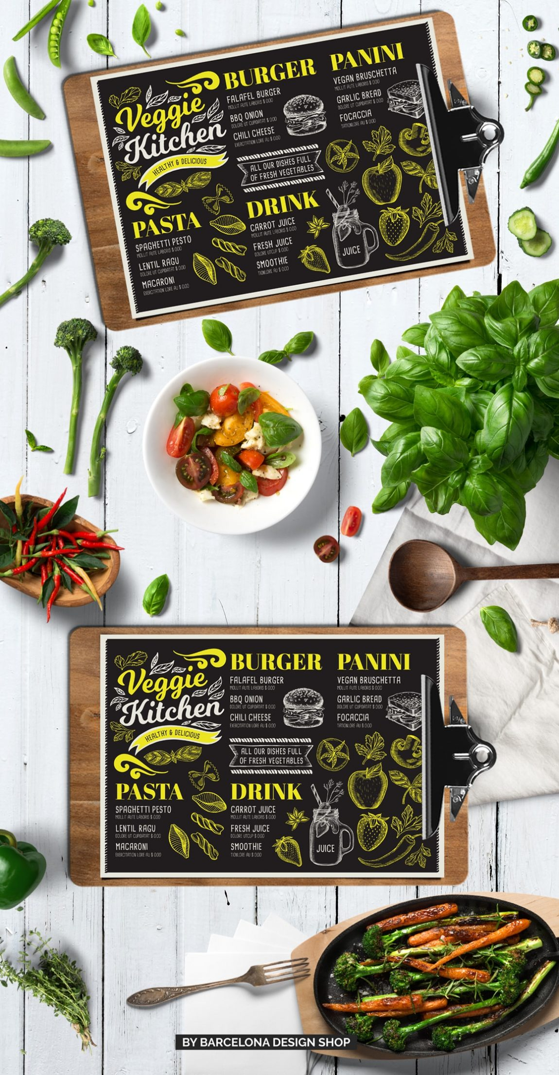 vegetarian menu design template for restaurant with hand drawn illustrations