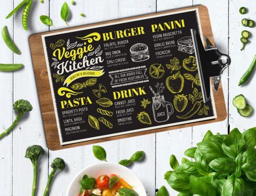 vegetarian menu design template for restaurant with hand drawn illustrations
