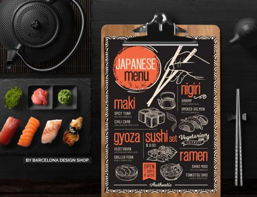 Asian restaurant menu design