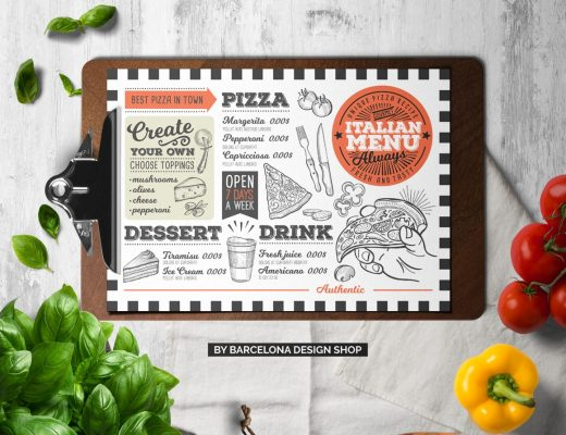 vintage italian menu template design for restaurant with hand drawn illustrations