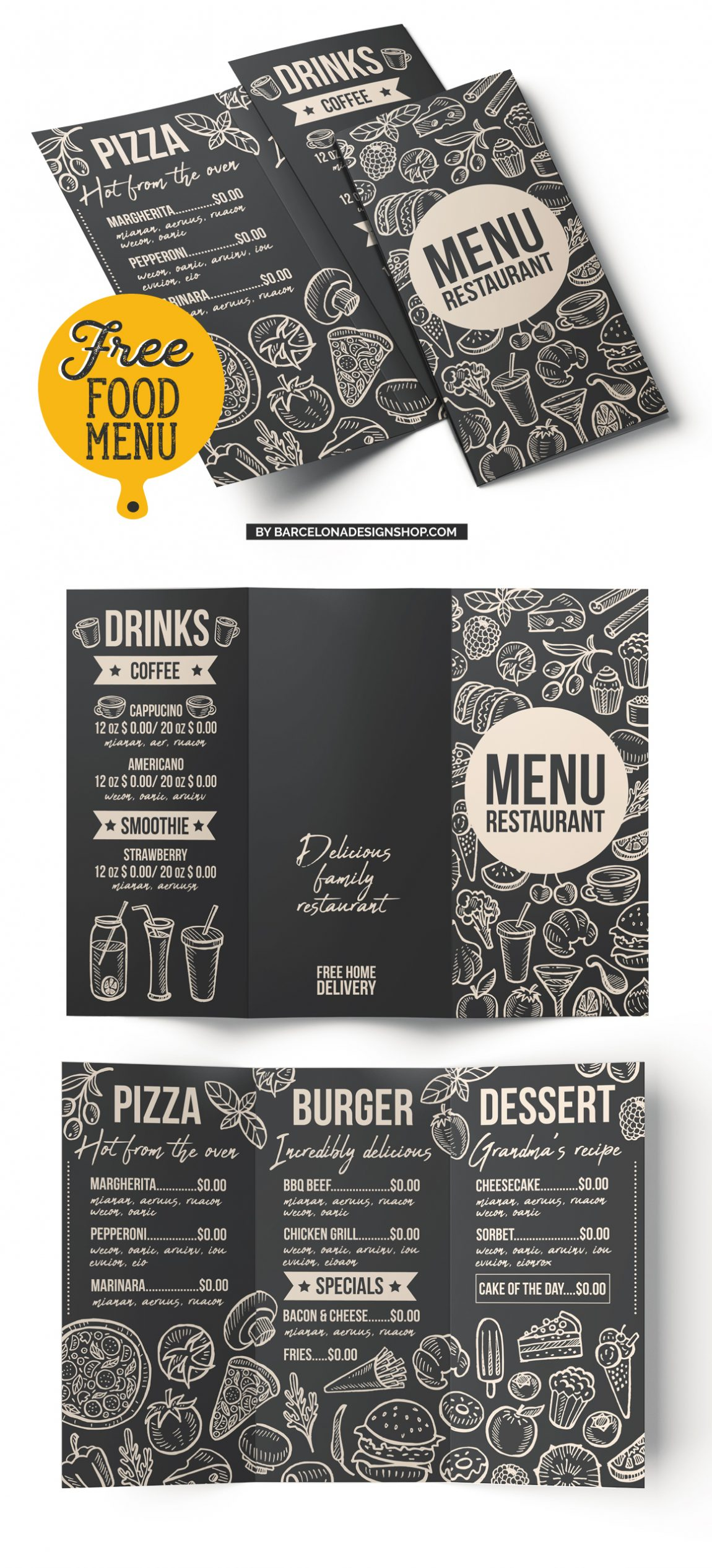 free food menu template restaurant photoshop psd burger pizza donwload
