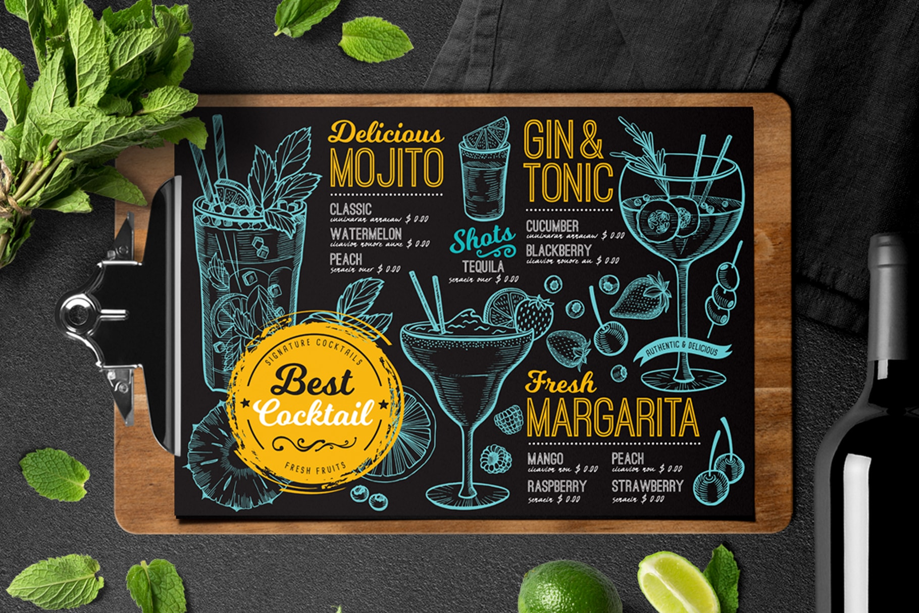 cocktail menu template design for restaurant with hand drawn illustrations