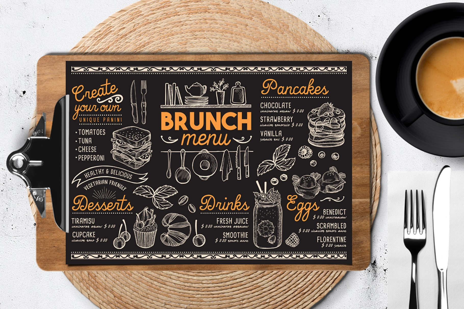 brunch coffee menu template design for restaurant with hand drawn illustrations