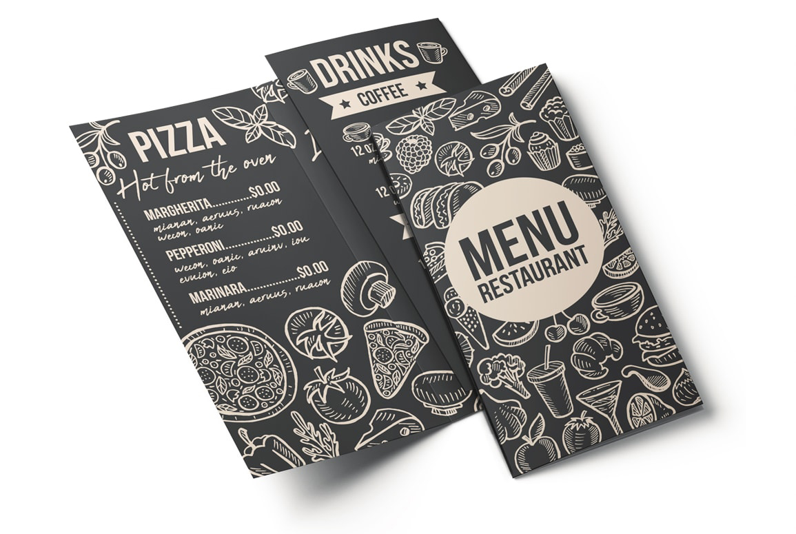 food truck burger pizza menu template design restaurant psd free