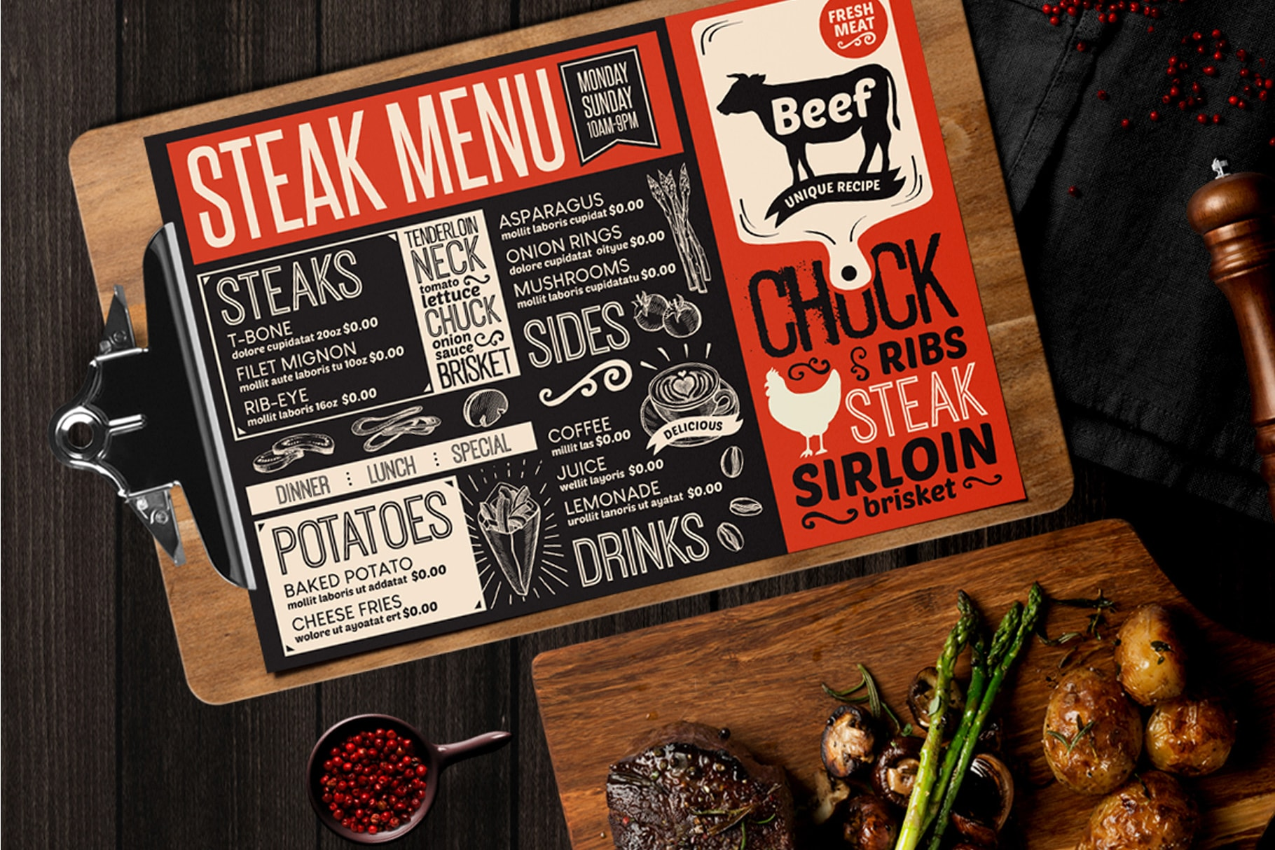 steak burger menu template design for restaurant with hand drawn illustrations