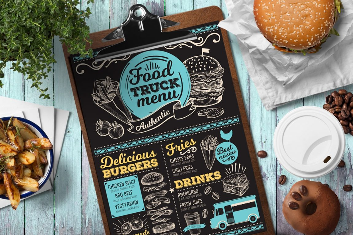 food truck burger menu template design for restaurant with hand drawn illustrations