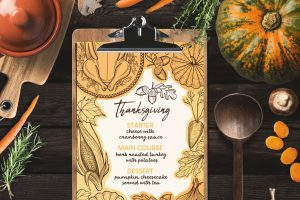 thanksgiving menu template design for restaurant with hand drawn illustrations