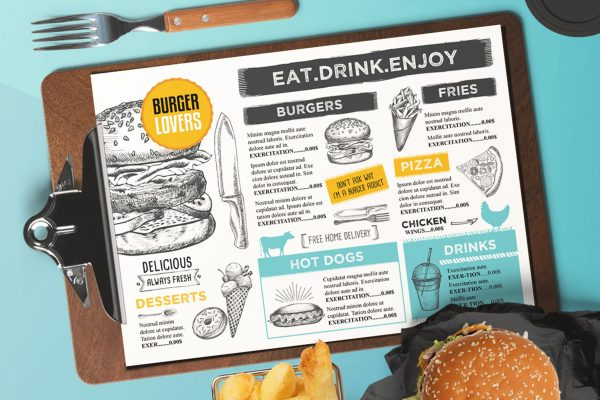 burger-food-menu-template-restaurant-vintage-card