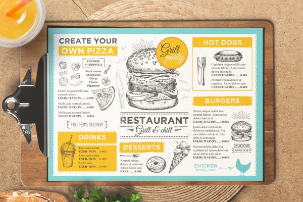 burger-food-menu-template-restaurant-vintage-card