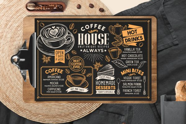 coffee-food-menu-template-restaurant-design-drink-blackboard