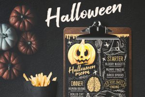 halloween-menu-party-invitation-holiday-food-flyer-chalkboard-pumpkin-design