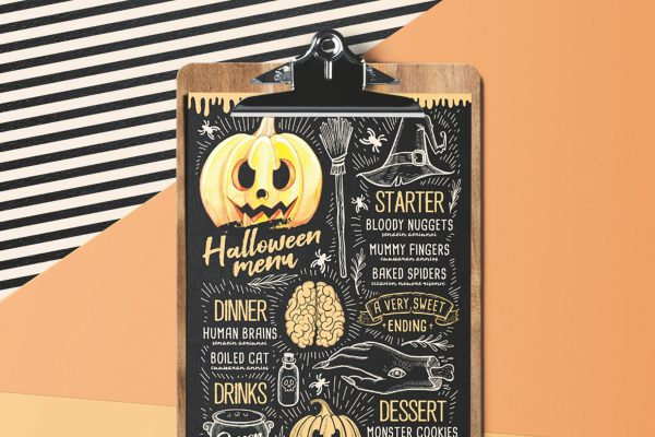 halloween-menu-party-invitation-holiday-food-flyer-chalkboard-pumpkin-design-retro
