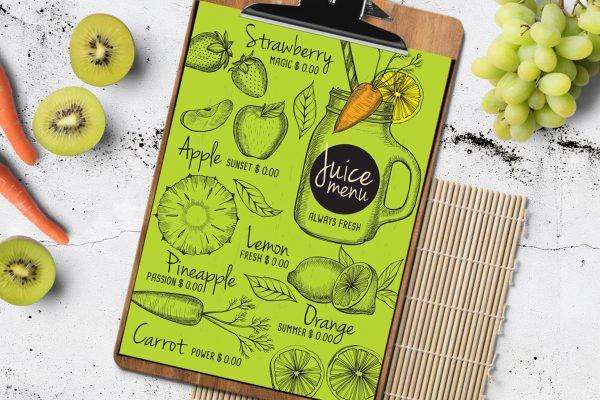 juice-beverage-menu-template-restaurant-design-drink-vegan-smoothie