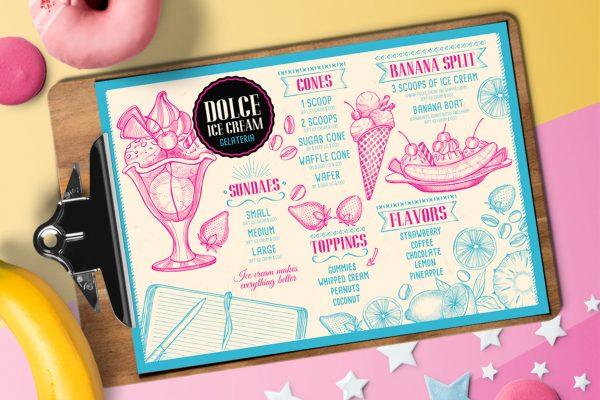 sweet-food-menu-template-restaurant-design-dessert-ice-cream-pink-sundae