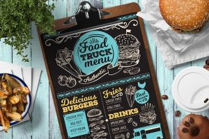van-truck-food-menu-template-restaurant-card-chalkboard