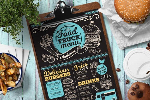 van-truck-food-menu-template-restaurant-card-chalkboard