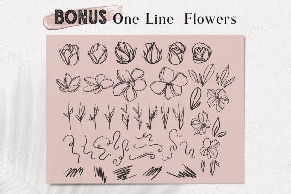 font-script-floral-illustration-logo-branding-one-line